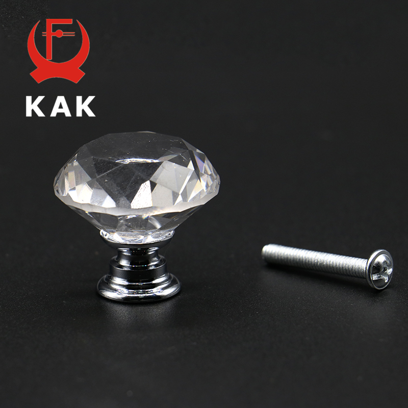KAK 5pcs/lot 20-40mm Diamond Shape Design Crystal Glass Knobs Cupboard Drawer Pull Kitchen Cabinet Wardrobe Handles Hardware 10 pcs 30mm diamond shape crystal glass drawer cabinet knobs and pull handles kitchen door wardrobe hardware accessories