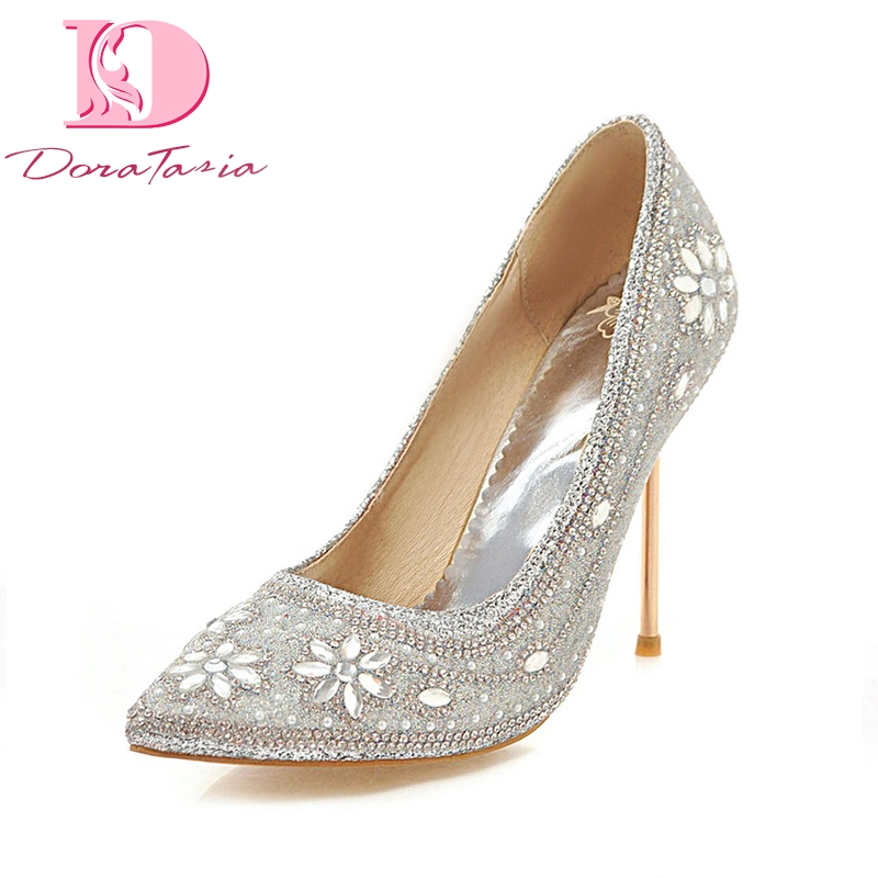 Doratasia large size 33-48 sequined cloth pointed toe thin high heels Shoes Woman crytal bling decoration party pumps