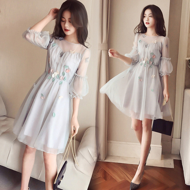 Fat MM Favorite Plus Size Women Spring New Fairy Was Thin Lantern Sleeve A Line Femme Knee Length Appliques Mujer Dress MZ2739