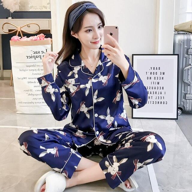 857f6278fb JRMISSLI Pajama Set Women Animal Pyjama Ladies Full Sleeve Long Pants Two  Pieces rabbit Print Set Pajamas Sleep Lounge