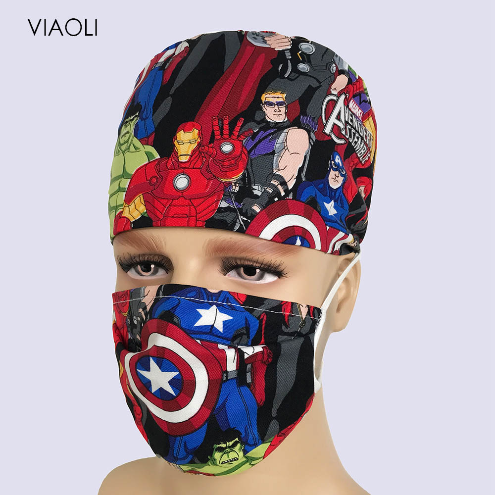 Doctor Surgical Cap Anime Print Scrub Cap Pet Grooming Doctor Work Cap Cotton Medical Use Doctor Accessories Nurse Cap And Mask