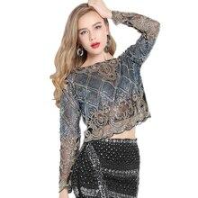 GRNSHTS Bling Sheer Body Short Blusas Feminina Lace Mesh Long Sleeve Floral Embroidery Sequin Beading Women Shirt Blouse Top raw hem floral sheer lace blouse
