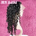 Free shipping Ms lula hair Glueless full lace human hair wigs with baby hair Brazilian deep wave 130% density Natural Hairline