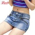 La falda Pantalón de mezclilla Pantalones Cortos Para Las Mujeres 2016 Nueva Llegada Del Verano de Moda de Doble Cremallera Mujer Sexy Pantalones Cortos de Jean Falda Más El Tamaño S-3XL