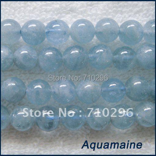 Pierre Semi-précieuse naturelle Aqua marine 10mm ronde pierre gemme bijoux lâche perle 40 cm brins