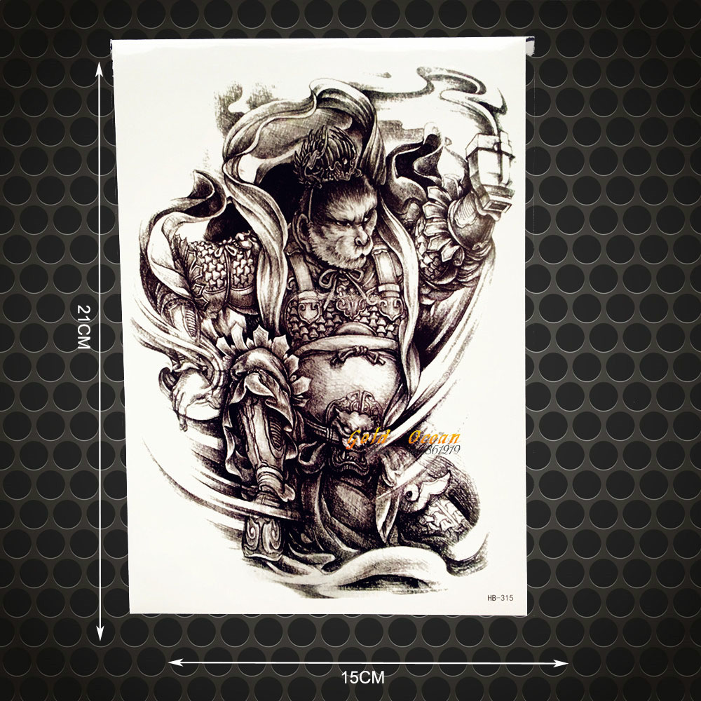 Monkey King Temporary Tattoo Warrior Armour Design Fake Flash Waterproof Tattoo 3D Fighter Pattern 21x15CM Large Body Arm Sleeve