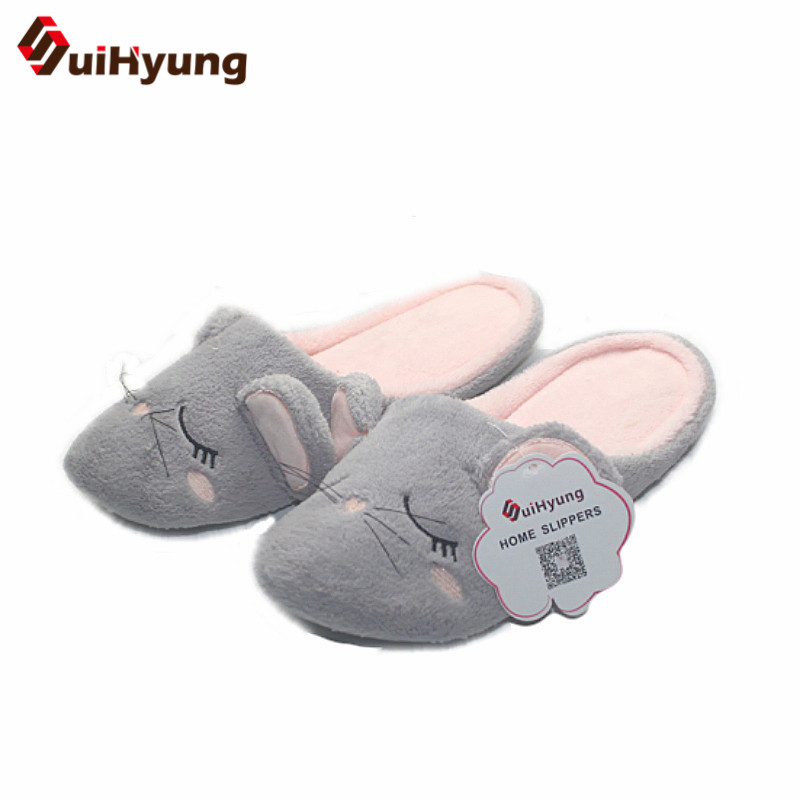 Suihyung Women Winter Warm Home Flat Slippers Indoor Shoes Plush Mouse Cotton Slippers Soft Bottom Female Bedroom Floor Slippers suihyung funny rabbit shape women winter home slippers plush indoor floor shoes female warm furry soft bottom slippers chinelos
