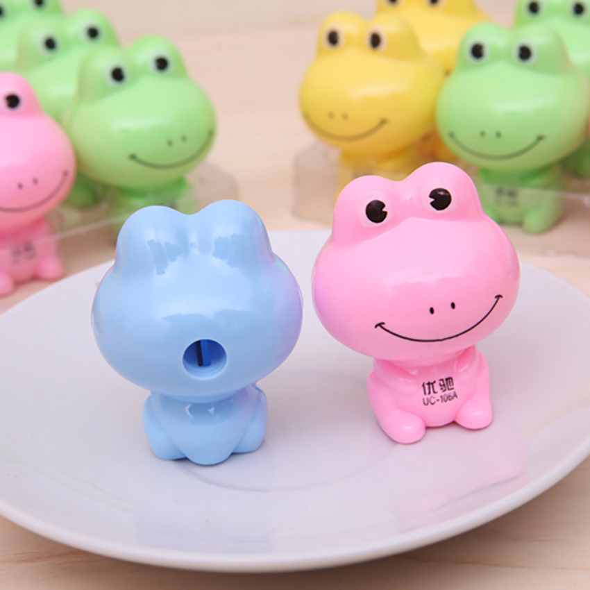 Cute Cartoon Frog Shape Pencil Sharpener Kids Stationery School Supplies Manual Pencil Cutter Knife Students Prizes Toys Decor
