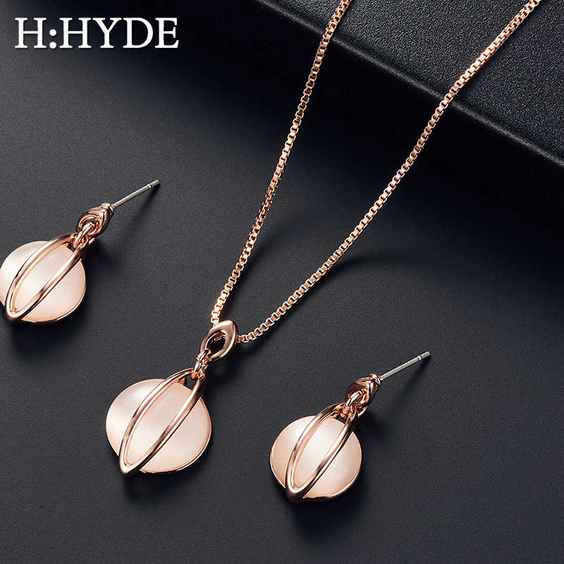 H:HYDE Natural Stone Round Water Drop Jewelry Sets For Women Silver Gold Color Chain Pendant Necklace Earrings bijoux