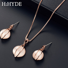 H:HYDE Natural Stone Round Water Drop Jewelry Sets For Women Silver Gold Color Chain Pendant Necklace Earrings bijoux цены онлайн