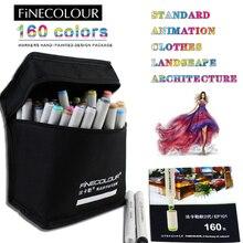 Finecolour 160 Цвет дополнительный двойной головкой алкогольных Эскиз Маркер 36 48 60 72 Цвет набор анимация картин Copic маркер
