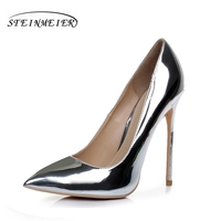 Silver High Heels For Women Elegant Shoes Quality Thin Heel Point Toe 12cm 10cm Patent Leather