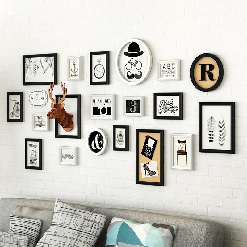 europe style 19 pcsset wooden collage photo frame setdeer head decor