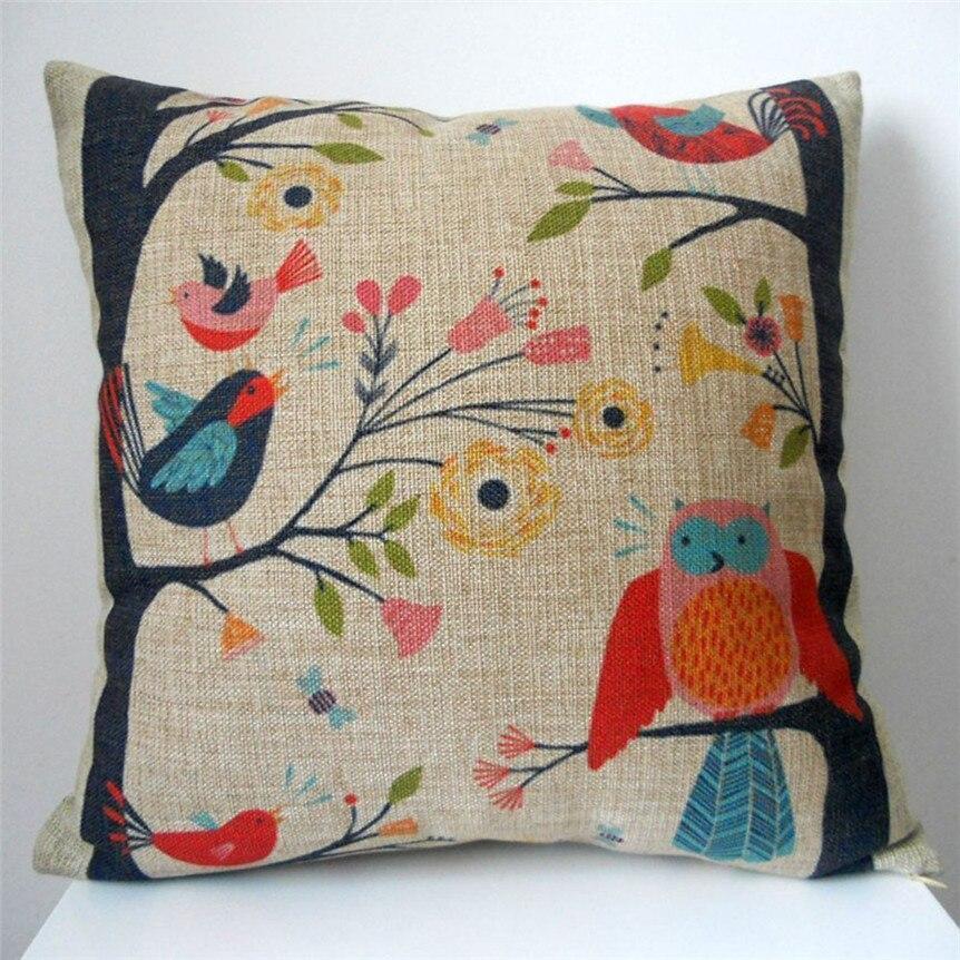 Ouneed Happy продажи горячий продавать ретро милый птицы на дереве узор кровать для дома настоящий наволочка Jun27