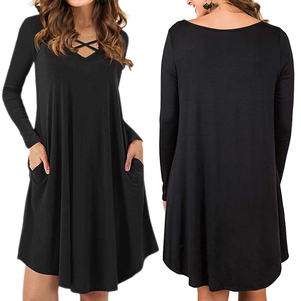 Elegant Female Swing Hem V-Neck Sexy Dresses Casual Women's Long Sleeve Dresses With Pockets Ladies clothes robe femme