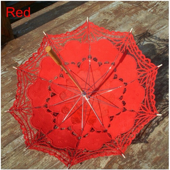 New Lace Umbrella Cotton Embroidery White/Ivory Battenburg Lace Parasol Umbrella Wedding Umbrella Decorations Free Shipping 21