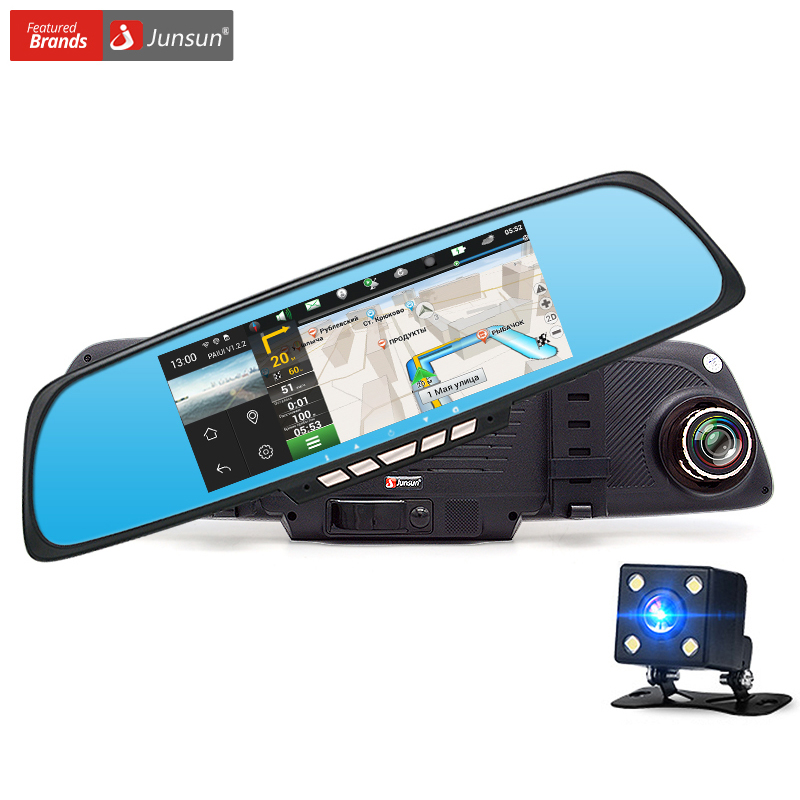 Junsun   Car Camera Dvr Gps Navigation Dual Lens Rearview Mirror Video Recorder Fhd P