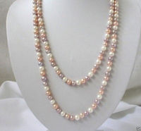 Free Shipping >>>>> natural 7 8mm white pink purple freshwater pearls necklace 50