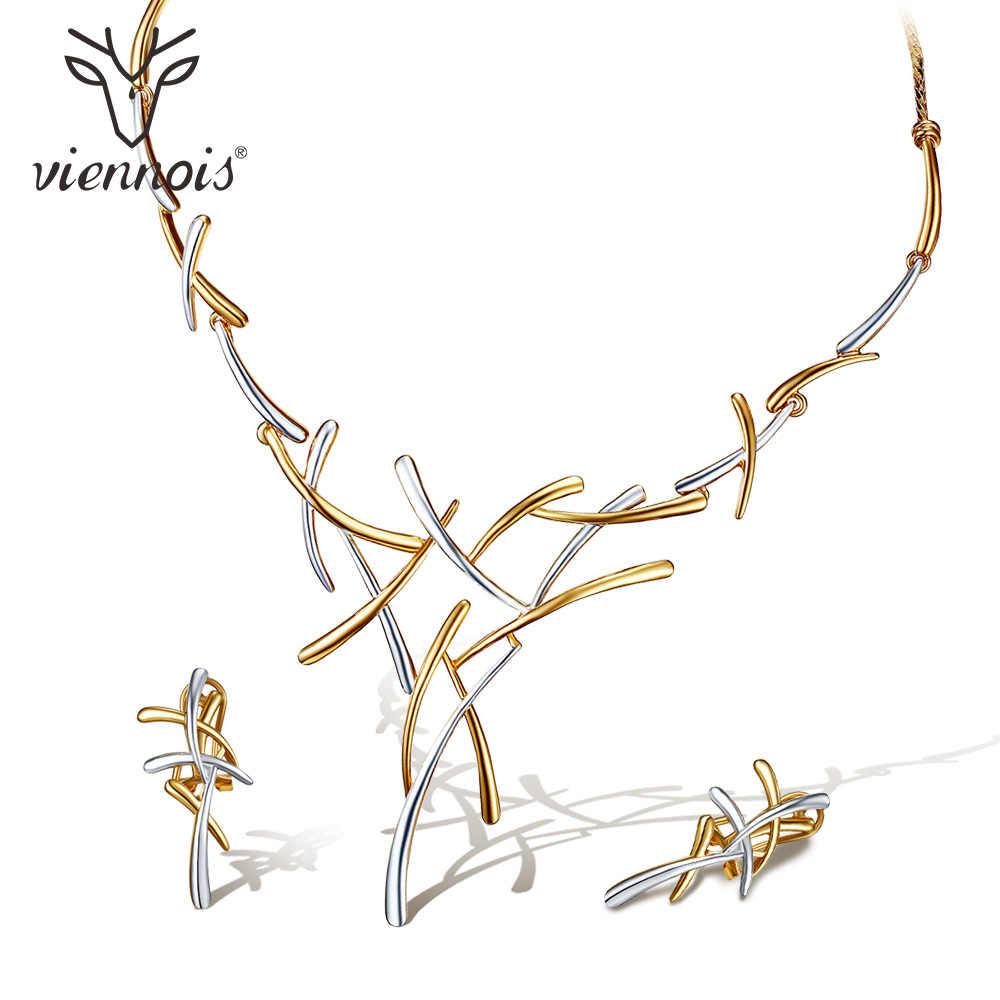 Viennois collier boucles d'oreilles Dubai ensembles de bijoux pour robe de mariée, demoiselles d'honneur, mariées, fête ou bal or Rose et pistolet couleur 2019