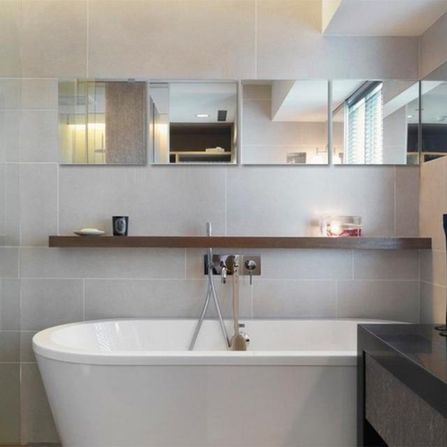 16pcs 15cmx15cm Square Mirror Wall Stickers Diy Self Adhesive Mosaic Bathroom Sticker Decals Home