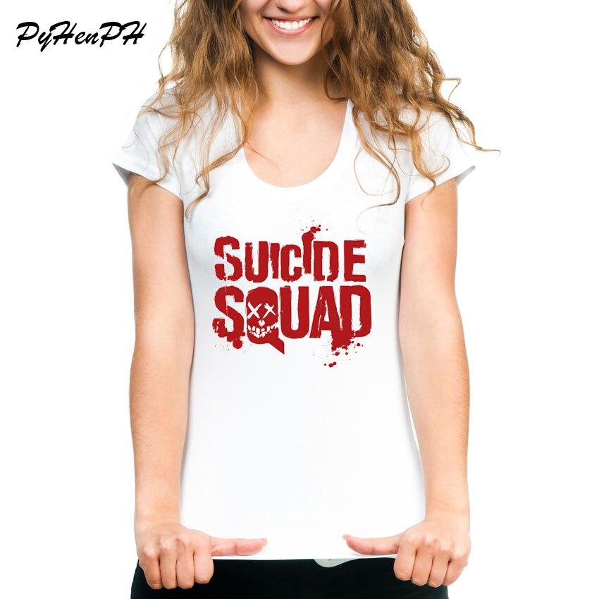 PyHenPH Brand T Shirt Women Suicide logo Print Tshirt Women suicide squad Design Shirt For Girl Tops Tees Hipster T-shirts