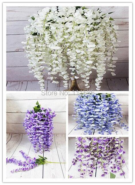 SPR 95cm Wisteria Flower Vine Rattan Wedding Arch Square Artificial Flowers  Wall Backdrop Table Centerpiece Decoration