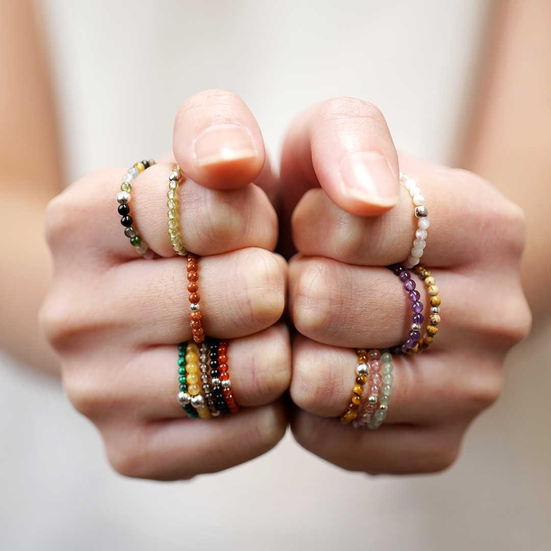 FFWFF Handmade Natural Stone Crystal Rings for Women girls opal moonstone mood wave Energy ring set bague ringen