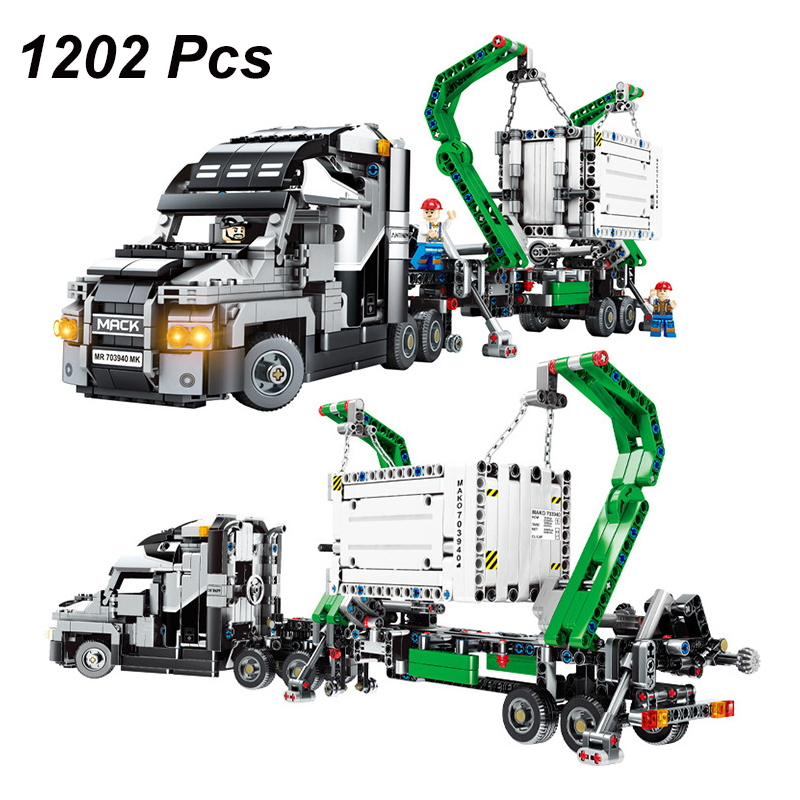 Technic Series Container Truck Bricks Building Blocks Sets DIY Engineering Vehicle Compatible Legoings Technical Creative Toys lace jacquard spliced chiffon bohemian v neck short sleeve dress for women