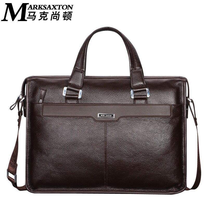 Mark saxton marque conception homme commerciale mâle sac à main véritable de vache en cuir d'épaule hommes de casual sac en cuir véritable porte-documents