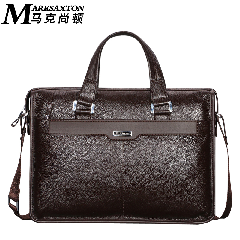 MARK SAXTON Brand Design Man Commercial Male Handbag Genuine Cow Leather Shoulder Men's Casual bag Real Leather Briefcase