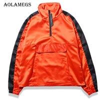 Aolamegs Jackets Men Striped Half Zipper Pullover Jacket Pocket Tracksuit Fashion Coats Hip Hop Male Streetwear