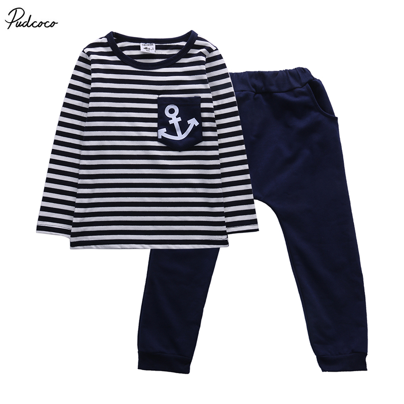 2pcs Toddler Kids Baby Boy Clothes T-shirt Tops Pants Trousers Outfits US Stock
