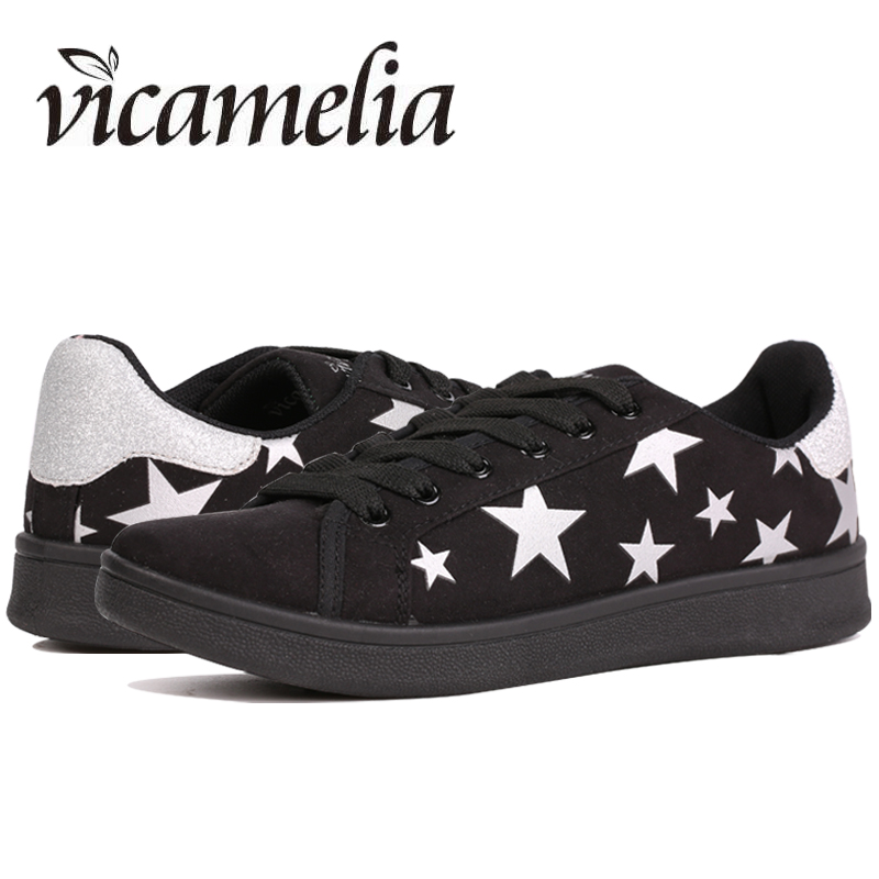 Vicamelia 2017 Black Women Sneakers PU Suede Autumn Fashion Casual Shoes Silver Stars Women Breathable Soft Women Flat Shoes 066