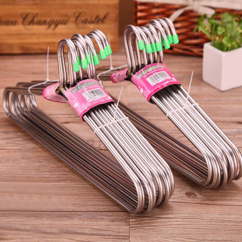 Durable Adult Clothes Hangers 10 Pcs Non-slip Home Accessories Stainless Steel Super Thick Portable Clothes Rack