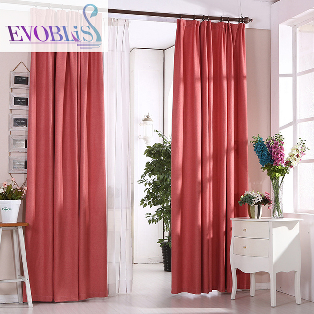 Estilo minimalista moderno chenille cortinas para sala cortinas rojas para dormitorio en - Estilo de cortinas ...