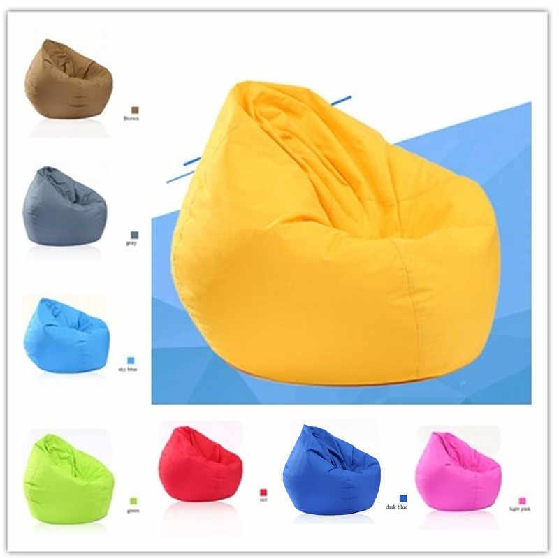 Tampa Da Cadeira do Saco de Feijão Oxford Zipper Beanbag à prova d' água de Pelúcia Brinquedos Macios Sólidos Causal Do Bebê Assentos Sofá Com Enchimento de Espuma Branca