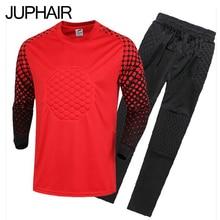 JUP New Kids Boys Soccer Goalkeeper Jersey Set Men's Sponge Football Long Sleeve Goal Keeper Uniforms Goalie Sport Training Suit