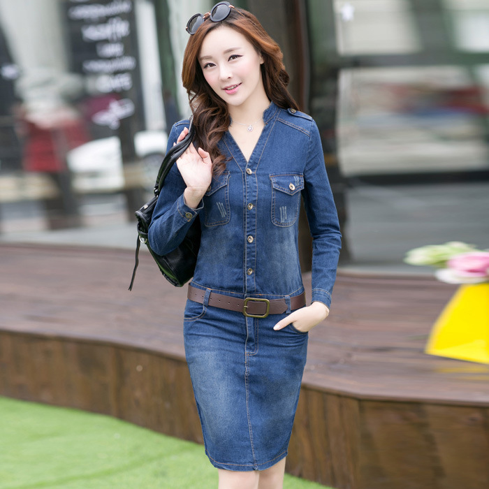 2016 new casual dress high street jeans women's denim dress long ...