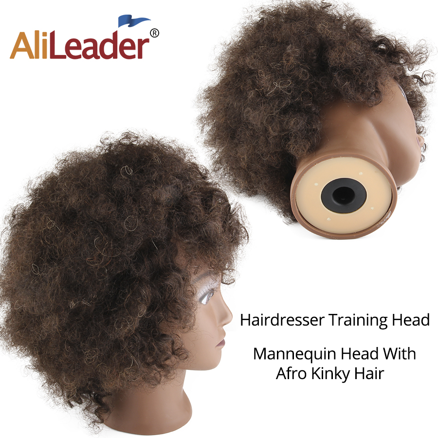 African Training Head for Hairdressers Salon Silicone Practice Mannequin Heads Short Afro Kinky Curly Hair Training Head