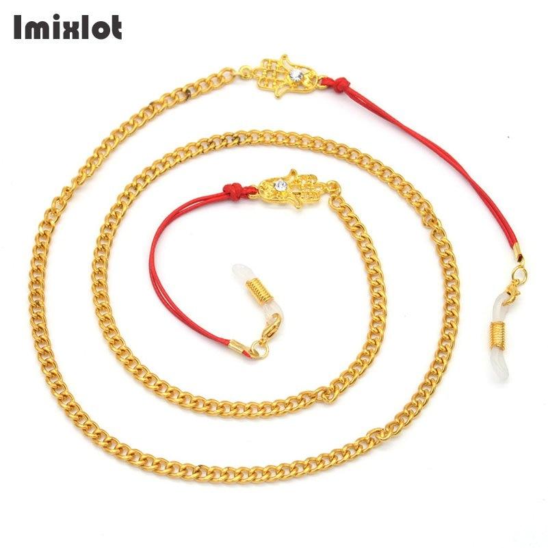 Rot Wachs Seil Charme Fatima Hand Sonnenbrille Lanyard Gurt Halskette Metall Brillen Brillen Kette Schnur Lesebrille Seile