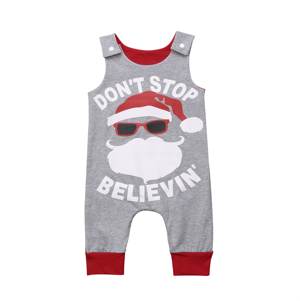 New 2018 Christmas Newborn Baby Boy Girl Santa Claus   Romper   Sleeveless Jumpsuit Infant Sunsuit Clothes Outfit