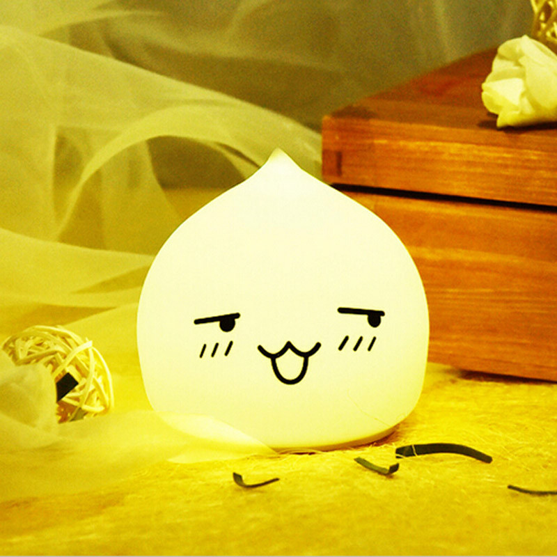 Cute LED Silicone water drop peach Night Light Touch Sensor light 2 Modes 7color Children Baby Night Light Bedroom Lamp
