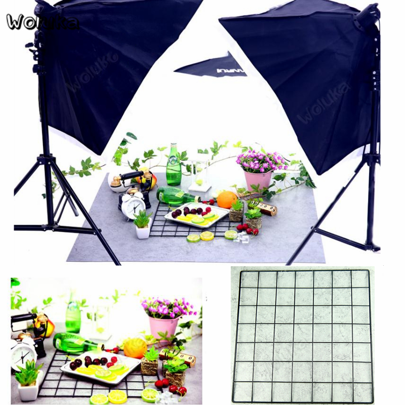 4PCS Refreshing Nordic Style Background Metal Grid Photo Studio Props For Food Makeup Product Photography Accessories CD50 T10