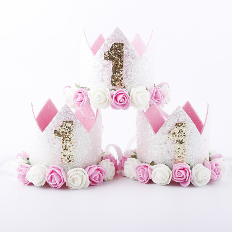 1 Pcs Cute Baby Girl Boy Birthday Party Hats I Am One Caps First Princess Queen Crown Decorations Headband
