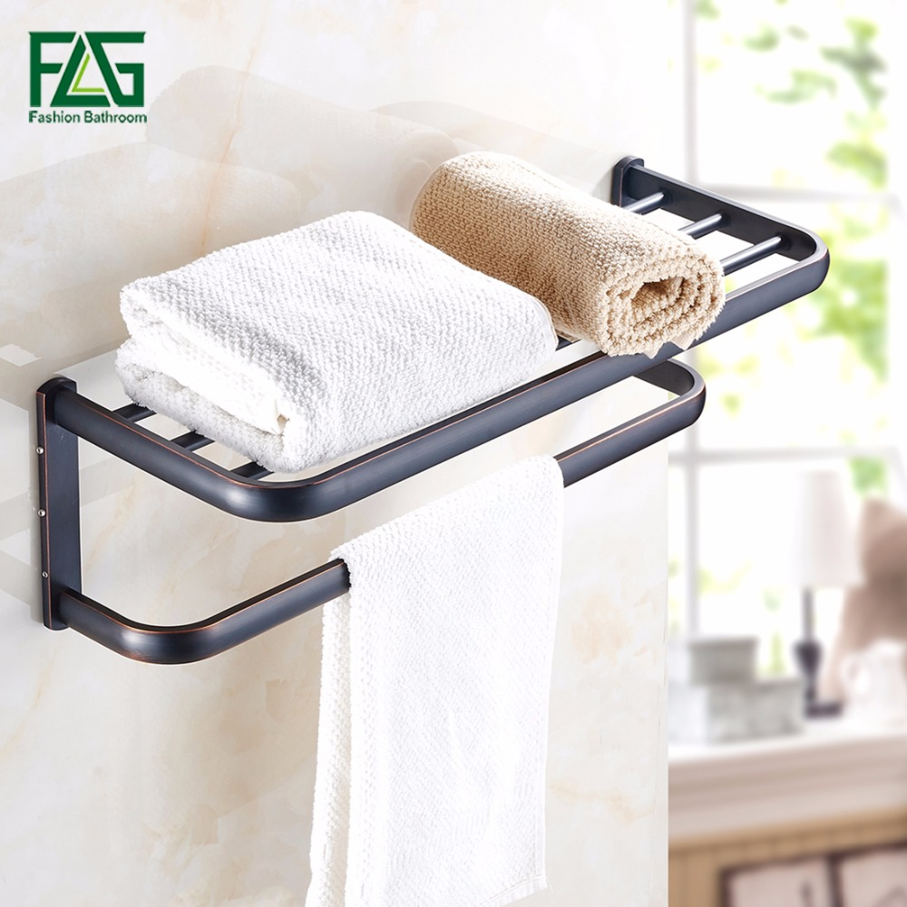 FLG Wall Mounted Bath Towel Rack Bath Towel Holder,Solid Brass,Oil Rubbed Bronze Double Towel Rails Bars Bathroom Accessories