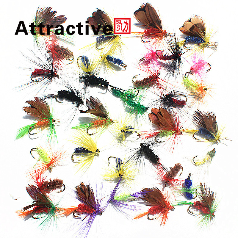 Attractive 36pcs Insect Fly Fishing Lure Artificial Fishing Bait Feather Single Treble Hooks Carp Fish Lure Water surface