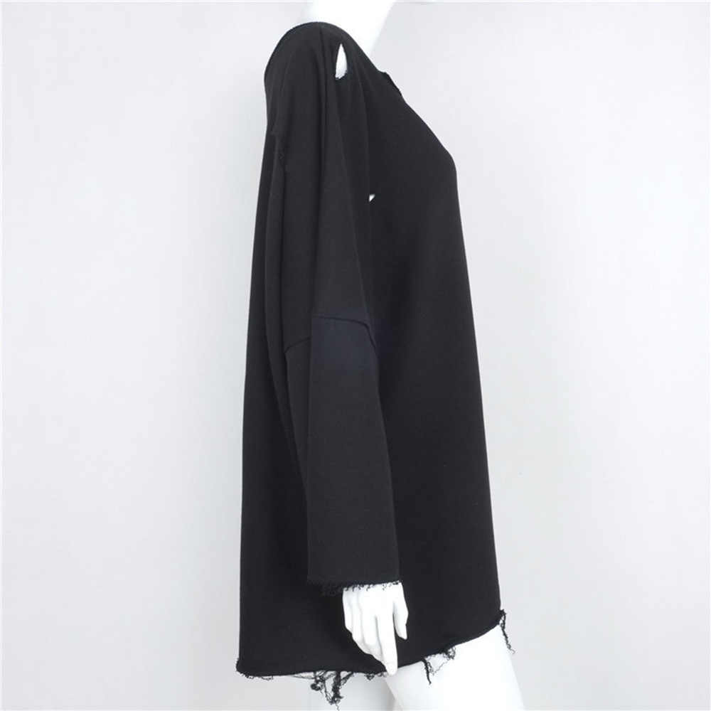 Женская Осенняя модная футболка Harajuku черные полые рваные круглые отверстия шеи с длинным рукавом хип-хоп крутые уличные Свободные повседневные футболки