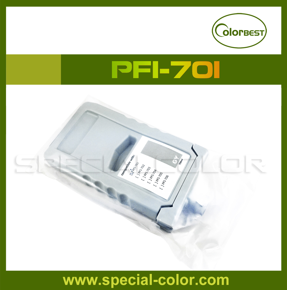 PFI-701 pigment ink Cartridge (compatible) GY 700ml with chip for IPF9100/9110 new arrival for hp 761 compatible ink cartridge with import chip with 6colors in 775ml