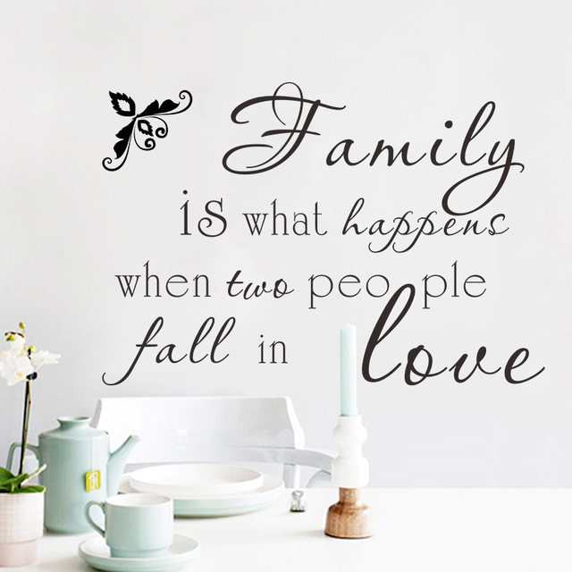 Family Is What Happens When Two People Fall In Love Wall Stickers Black Monogram English Words