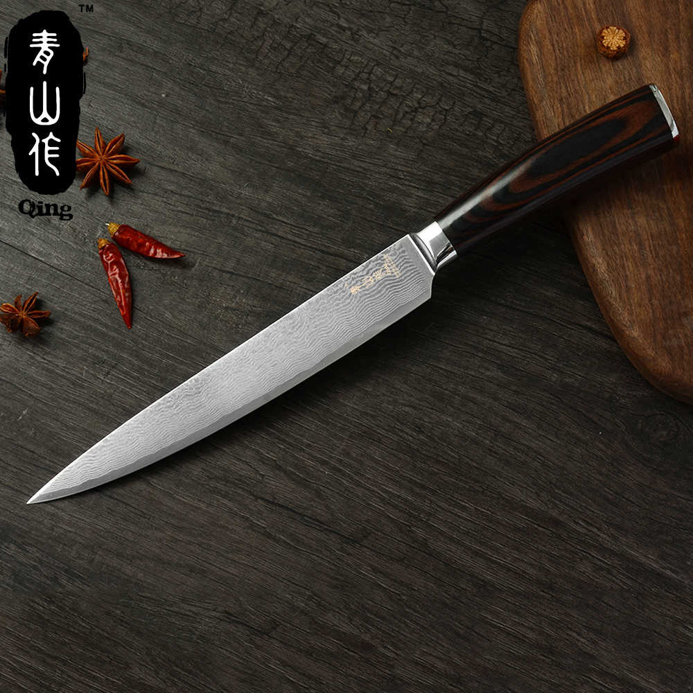 Qing Kitchen Knife 8 inch Japanese Damascus Steel Slicing Knife VG10 Damascus Color Wood Handle Meat Cleaver Kitchen Accessories